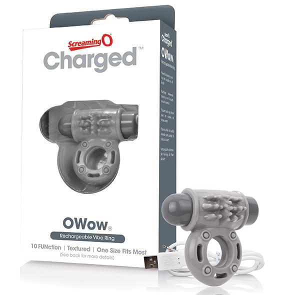 THE SCREAMING O - CHARGED OWOW VIBE RING, USB aku-peeniserõngas, hall